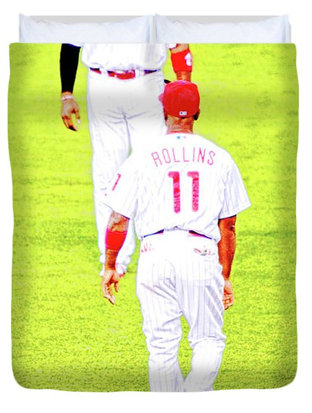 J Roll And The Big Piece, Ryan And Rollins, Phillies Greats Duvet Cover