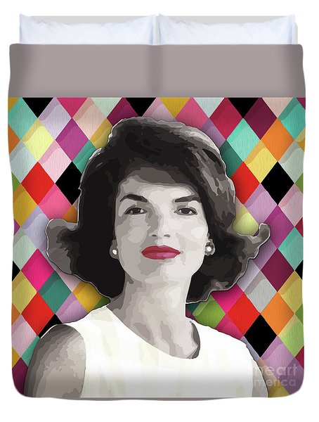 Duvet Cover featuring the painting Jackie Geometric by Carla B