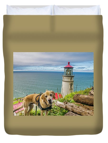 Jackson At Heceta Head Lighthouse Duvet Cover