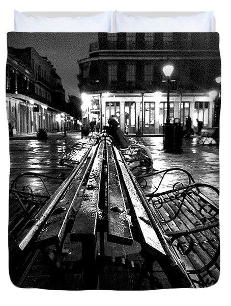 Jackson Square In The Rain Duvet Cover