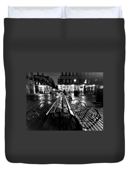 Duvet Cover featuring the photograph Jackson Square In The Rain by Amzie Adams