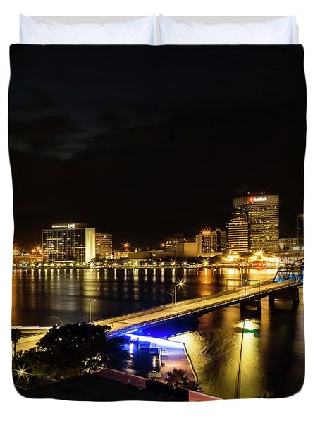 Jacksonville Skyline By Night Duvet Cover