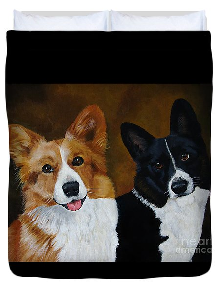 James And Joy Custom Portrait Painting Duvet Cover
