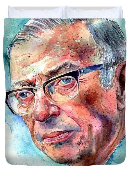 Jean-paul Sartre Portrait Duvet Cover