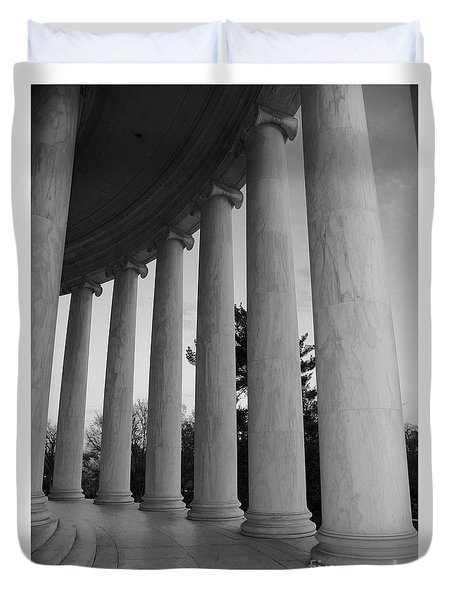 Jefferson Memorial In Black And White Duvet Cover