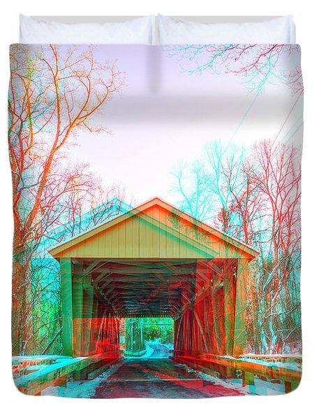 Jericho Covered Bridge 3d Anaglyph Duvet Cover