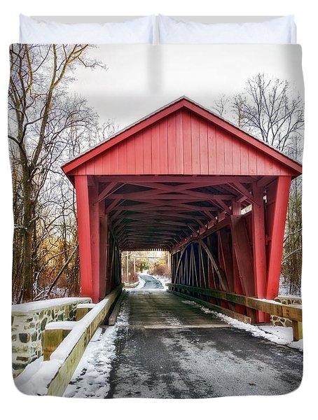 Jericho Covered Bridge Snow Duvet Cover