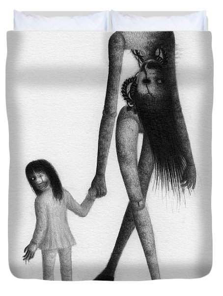 Jessica And Her Broken Doll - Artwork Duvet Cover