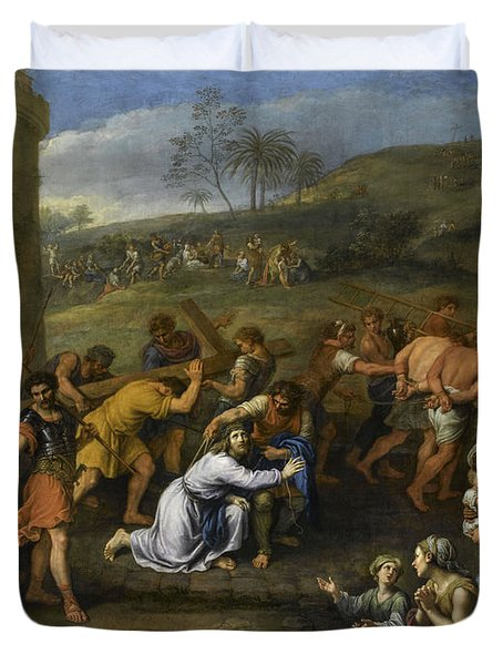 Jesus On The Road To Calvary, 1684 Duvet Cover
