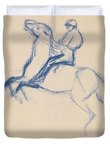 Jockey On Horseback Duvet Cover