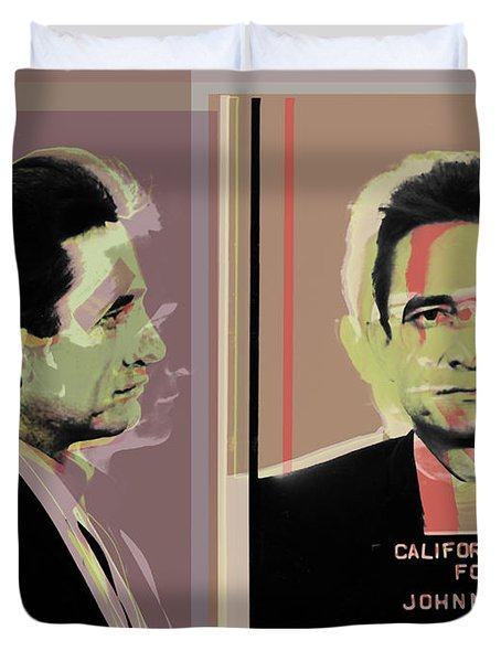 Johnny Cash Mugshot Pop Art Warhol Style Duvet Cover
