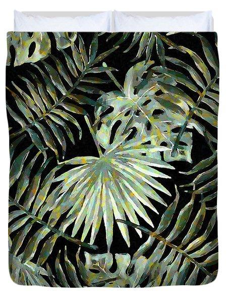 Jungle Dark Tropical Leaves Duvet Cover