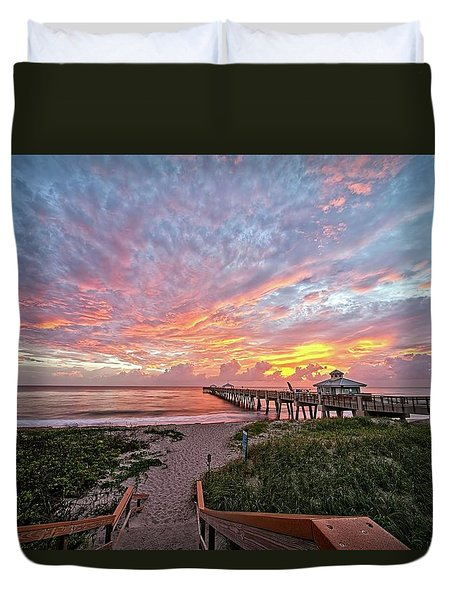 Juno Beach Pier Duvet Cover