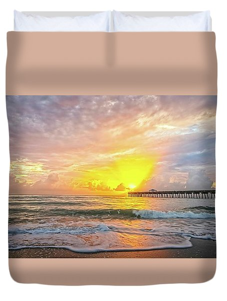 Juno Beach Pier Sunrise 2 Duvet Cover