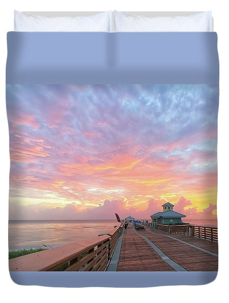 Juno Beach Pier Sunrise Duvet Cover