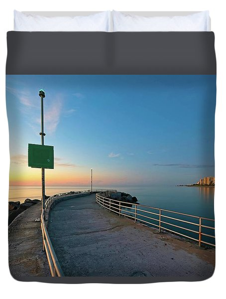 Jupiter Inlet Jetty Looking South Duvet Cover