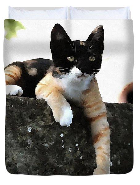 Just Chillin Tricolor Cat Duvet Cover