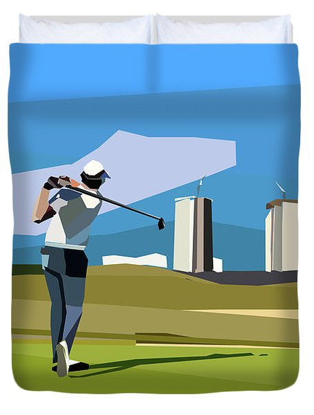 Justin Rose In Rio  Duvet Cover