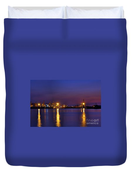 Kaohsiung Port At Dusk Duvet Cover
