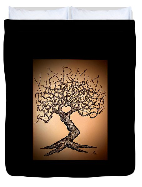 Duvet Cover featuring the drawing Karma Love Tree by Aaron Bombalicki
