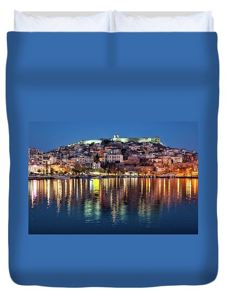 Kavala Town At Night Duvet Cover
