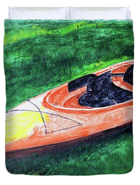 Kayak In The Grass Duvet Cover