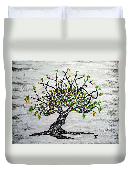 Duvet Cover featuring the drawing Kayaker Love Tree Art by Aaron Bombalicki
