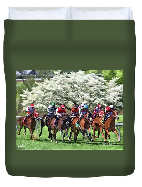 Keeneland Down The Stretch Duvet Cover