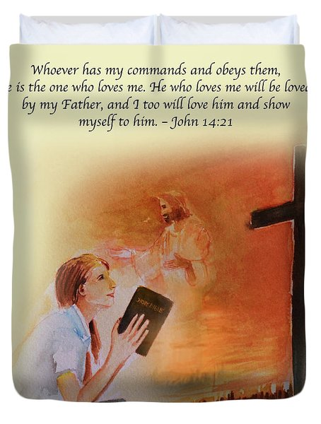 Keeps My Commandments Duvet Cover