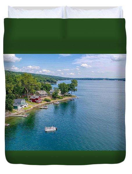 Keuka Boat Day Duvet Cover