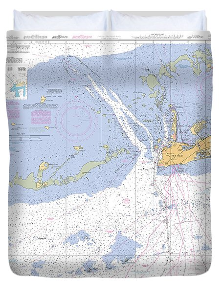 Key West Harbor And Approaches, Noaa Chart 11441 Duvet Cover