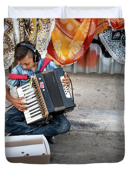 Kid Playing Accordeon Duvet Cover