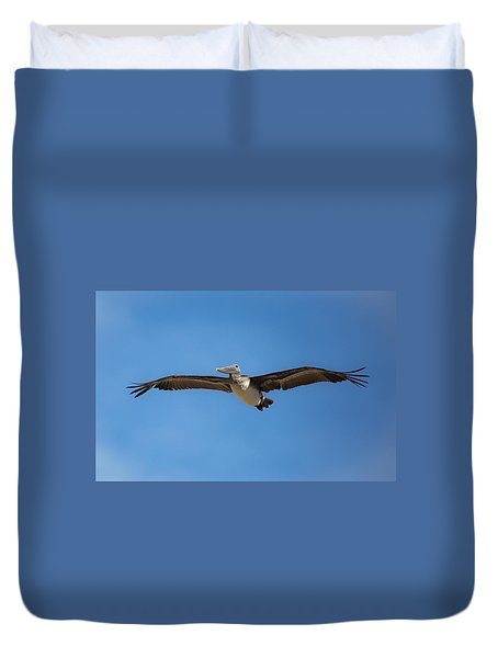 Duvet Cover featuring the photograph Kill Devil Pelican by Lora J Wilson