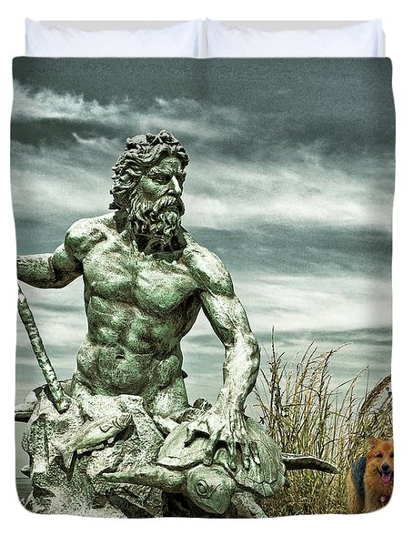 Duvet Cover featuring the photograph King Neptune And Miss Hanna At Cape Charles by Bill Swartwout Fine Art Photography