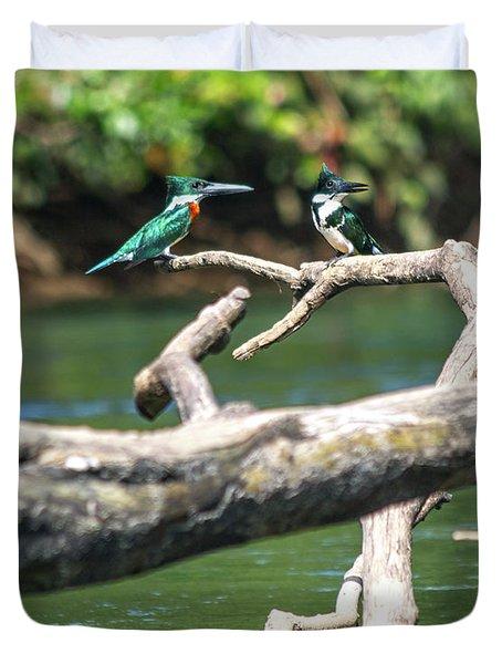 Kingfisher Pair Costa Rica Jungle Duvet Cover