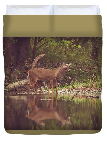 Duvet Cover featuring the photograph Kissing Deer Reflection by Dan Sproul