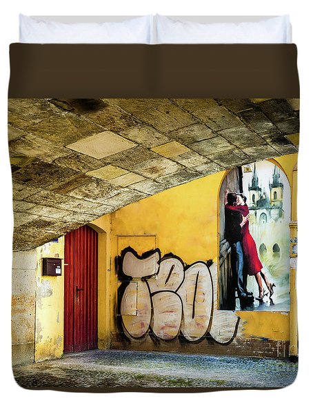 Kissing Under The Bridge Duvet Cover