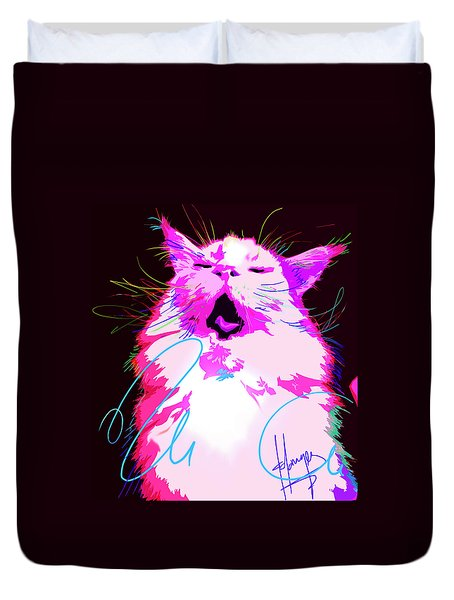Kitty Yawn Pop Cat Duvet Cover
