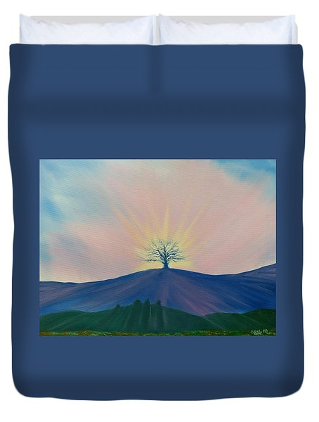Duvet Cover featuring the painting Komorebi by Kevin Daly