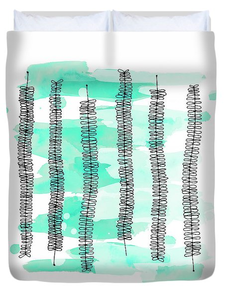 Kowhai Branches In Mint Green Watercolor Duvet Cover