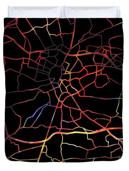 Krakow Poland Watercolor City Street Map Dark Mode Duvet Cover