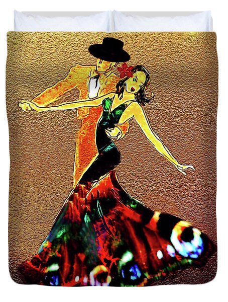 Duvet Cover featuring the painting La Fiesta by Valerie Anne Kelly