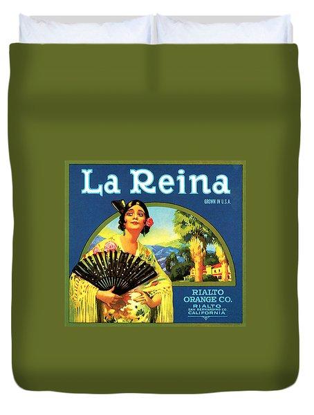 La Reina Rialto Oranges, San Bernardino California, 1920s Crate Label Duvet Cover