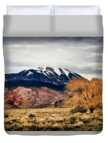 Duvet Cover featuring the photograph La Sal Mountain Range by David Morefield