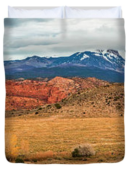 Duvet Cover featuring the photograph La Sal Mountains by Andy Crawford