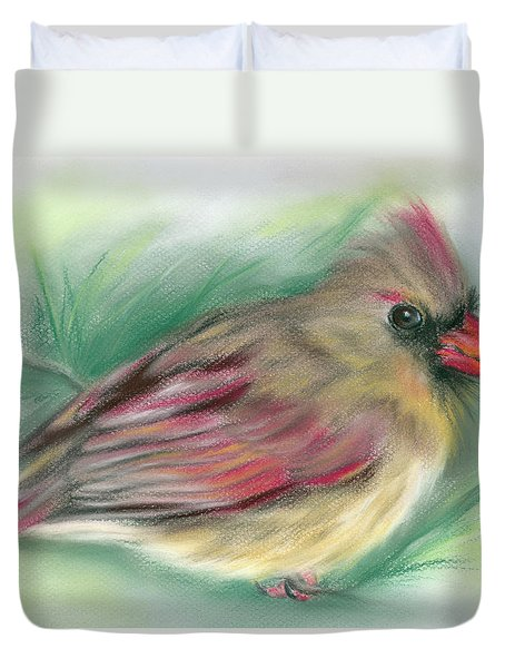Lady Cardinal In The Pine Duvet Cover