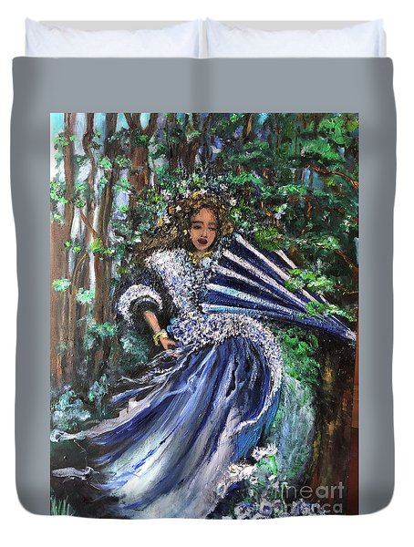 Duvet Cover featuring the painting Lady In Forest by Laurie Lundquist