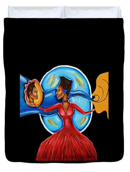 African Goddess Lady In Red Afrocentric Art Mother Earth Black Woman Art Duvet Cover