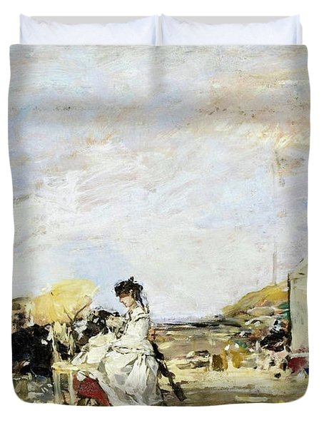 Lady In White On The Beach At Trouville - Digital Remastered Edition Duvet Cover