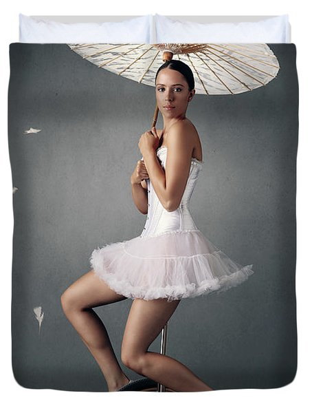 Lady On A Unicycle Duvet Cover
